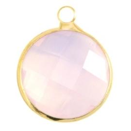 Crystal glas hanger rond 16mm Light rose opal-Gold
