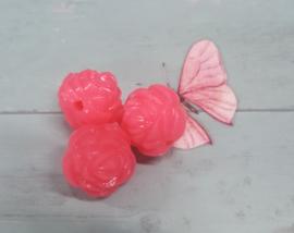 10 x Acryl roos roze 15mm x 15 mm gat 2mm