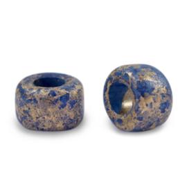 5 x DQ Grieks keramiek kralen gold spot 9mm Dark blue gat 3,9mm