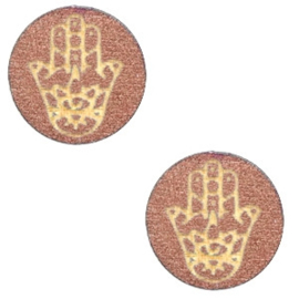 1 x Houten cabochon Hamsa hand van Fatima 12mm Rosegold