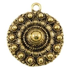 Metalen Zeeuwse knop 1 oog Antiek goud 38 x 34 mm