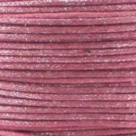 10 meter Waxkoord 1.0 mm Pale Berry Pink Metallic