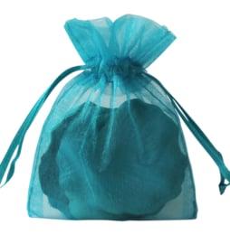 c.a. 100 organza zakjes 10 x12 cm turquoise