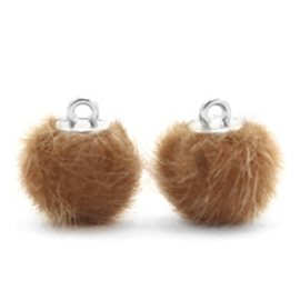 2 x Pompom bedels faux fur 12mm Vintage golden brown