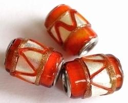 Per stuk Glaskraal met metaal European-style Oranje zilverfolie 16 mm