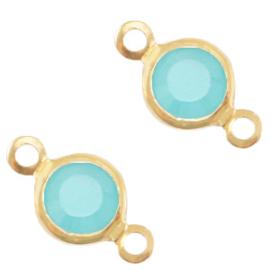 2 x Bedels DQ metaal tussenstuk crystal glas rond 6mm Gold-Canton aqua blue opal