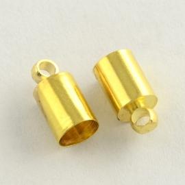 10 x  goudkleur cord cap  9 x 3mm binnenzijde Ø2mm gat: 1,5mm