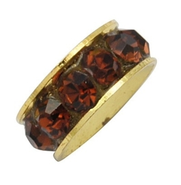 Schitterende Gold Plated  European Jewelry kraal met bergkristal erg mooi!! Saddle Brown 11 x 4,3mm, gat: 5mm