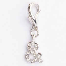 Be Charmed letter & bedel met karabijnsluiting zilver met een rhodium laag (nikkelvrij)
