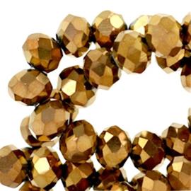 15 x Top Facet kralen 6x4 mm disc Copper gold metallic