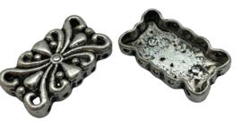 2x Tibetaans Zilveren Verdeler 24 mm x 14 mm oogjes: 1 mm