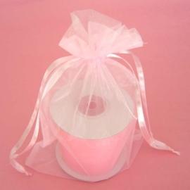 1 x luxe organza zakje, kies uit 6 verschillende maten -  Pink