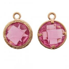Bedel metaal cubic zirconia roze rosé goud 13x17mm