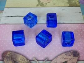 Per stuk Glaskraal rond zilverfolie 172 afmeting ca. 12mm