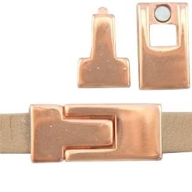 1x DQ metaal magneetslot 30 x 13 mm voor 10 mm plat leer Rosé goud
