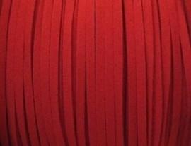 2 meter Faux suède veter  breed  3mm kleur: Rood
