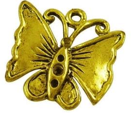 4 x Tibetaans zilveren bedeltje van een vlinder 18 x 17 x 2mm gat: 1,5mm Goukleur