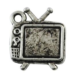 5 x tibetaans zilveren bedeltje van een TV  15 x 13 x 2mm Gat: 1mm