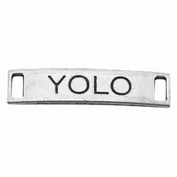 """2 x Antiek zilveren metalen bedel/tussenzetsel met 2 ogen """"YOLO"""" 28 mm"""