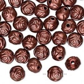 10 stuks acryl bloem kralen 8mm roodkoper kleur