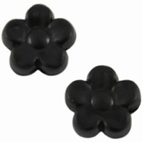10 stuks Kunststof kraal bloempje mat zwart. 8 mm
