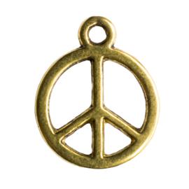 10 x tibetaans zilveren bedel vrede 12 x  15mm oogje: 1,4mm Goudkleur