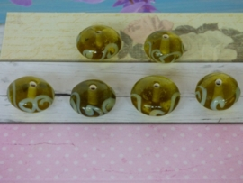 5 x High Quality Glass Hand Made Bead 183 afm. ca. 10 x 16mm.