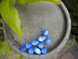 10 stuks mooie glaskralen 8mm cateye blauw