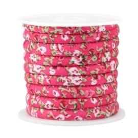 20 cm Trendy gestikt koord 6x4mm Hot pink