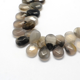 Per stuk Prachtige Faceted Drop Natural Grey Agate kraal 18 x 13 x 6 mm gat: 1,5mm