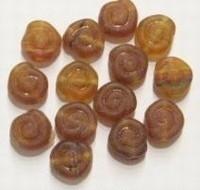 10 stuks glaskraal slakkenhuisje mat beige gemeleerd 8 mm