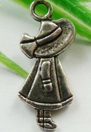 5 x Tibetaans zilveren bedeltje van een meisje 28 x 12 x 4mm Gat: 3mm 3D