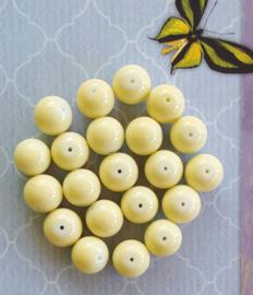 10 stuks Keramische glaskralen  10mm zacht geel