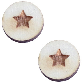 1 x Houten cabochon basic 12 mm star small Grey