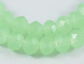Streng met c.a. 100 stuks electroplated briolette kristal kraal 6 x 4mm gat 1mm imitatie Opal groen