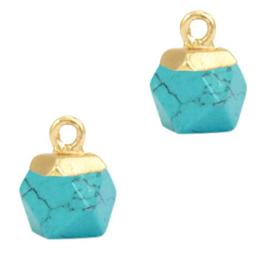 1 x Natuursteen hangers hexagon Turquoise-gold
