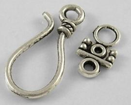 1 x Prachtige Tibetaans zilveren sluiting Haak 24 x 11mm - 14 x 8mm