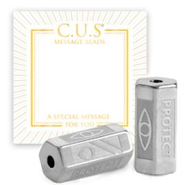 """1 x C.U.S® sieraden message beads """"protect"""" Zilver (nikkelvrij)"""