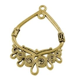 2 stuks tibetaans zilveren oorbellen ornamenten 36,5 x 25 x 3mm goudkleur