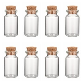 Wensflesje, geluk flesje van glas met kurk 40mm hoog Ø22mm