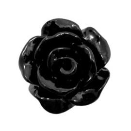 2 x Roosjes kralen 10 mm shiny Zwart