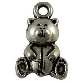 4 x Tibetaans zilveren bedel van een beertje 16 x 10 x 5 gat 2mm