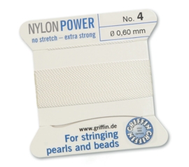 Griffin Nylon Power no stretch - extra strong 2 meter met naald  No: 4 Ø 0,60mm wit