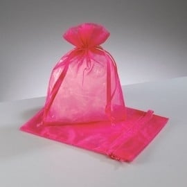 c.a. 100 stuks organza zakjes 10 x 15cm hot pink