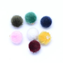 5 stuks Pompom bedels met oog mix kleuren 17 x 14mm, oogje: 1,5mm