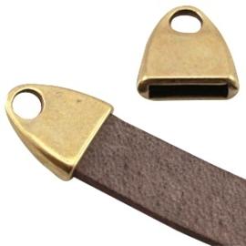 DQ metalen eindkap met oog antiek geel koper kleur (voor DQ plat 10 mm)