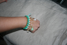 Armband in turquoise, wit en goud ♥
