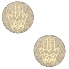 1 x Houten cabochon Hamsa hand van Fatima 12mm Pearl gold