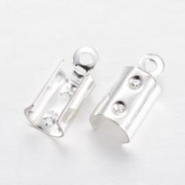 10 stuks ronde veterklemmen, zilverkleur 11 x 5mm gat 1mm