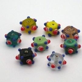 10 stuks glaskraal kleurenmix 11x11mm